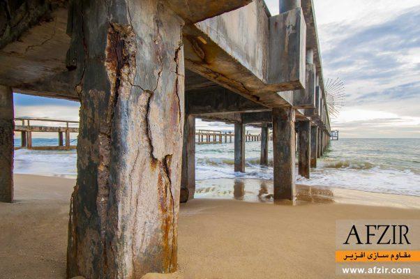 خوردگی و از بین رفتن پوشش بتن کنار دریا