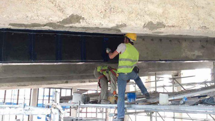 مقاوم سازی برشی تیر بتنی ساختمان تجاری با الیاف FRP