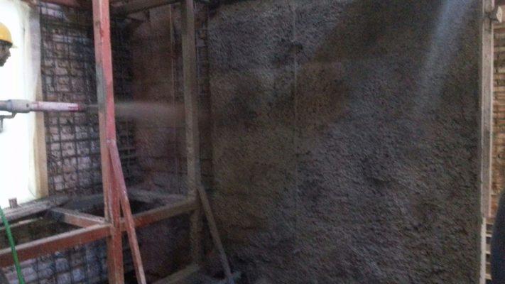 مقاوم سازی دیوار ساختمان تجاری با شاتکریت