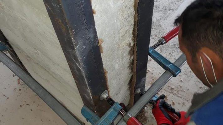 مقاوم سازی ستون بتنی ساختمان تجاری با ژاکت فولادی