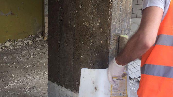 مقاوم سازی ستون بتنی ساختمان تجاری با الیاف FRP