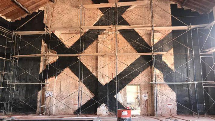 مقاوم سازی دیوار مصالح بنایی کارگاه صنعتی با الیاف FRP